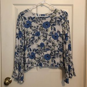 Lush Floral Blouse with Bell Sleeves